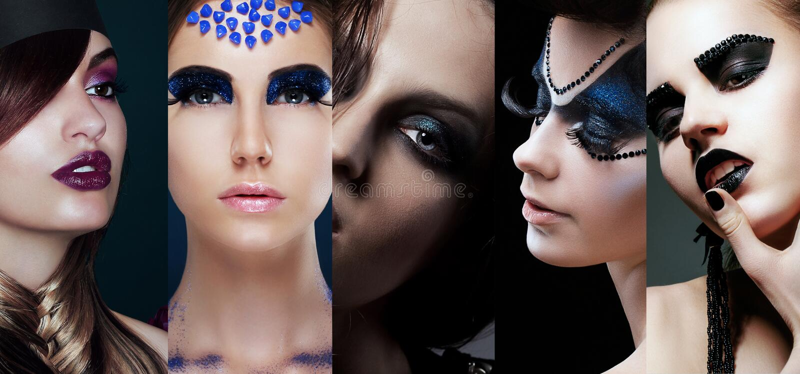 Piękno kolaż Kobiety z Niezwykłym Makeup obraz stock