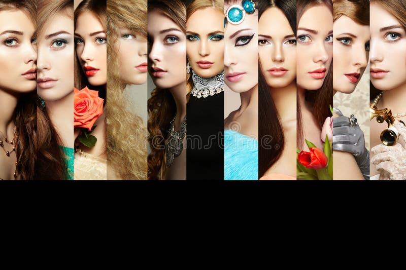 Piękno kolaż Twarze kobiety zdjęcie stock