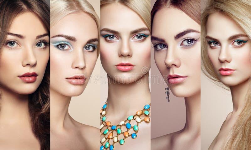 Piękno kolaż Twarze kobiety zdjęcie royalty free
