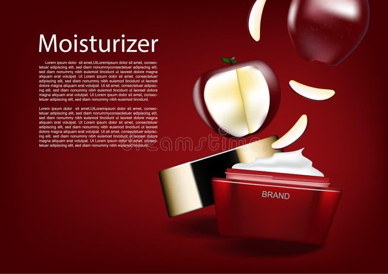 Piękno kosmetyczne reklamy, czerwony jabłko spada w kosmetycznym słoju ilustracji