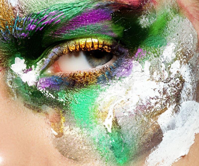 Piękno, kosmetyki i makeup, Jaskrawy kreatywnie makijaż obraz stock