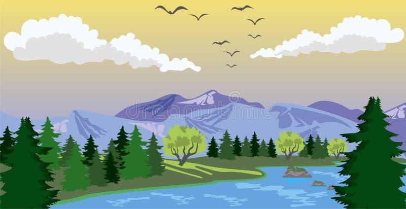 Piękno krajobraz z jeziorem i górą ilustracja wektor