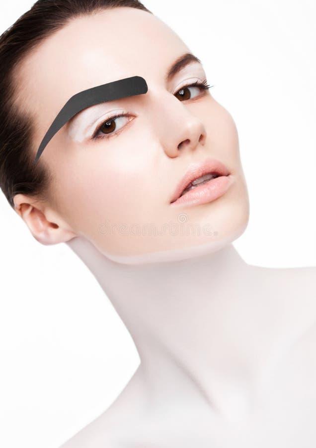Piękno mody model z białym skóry makeup obrazy stock