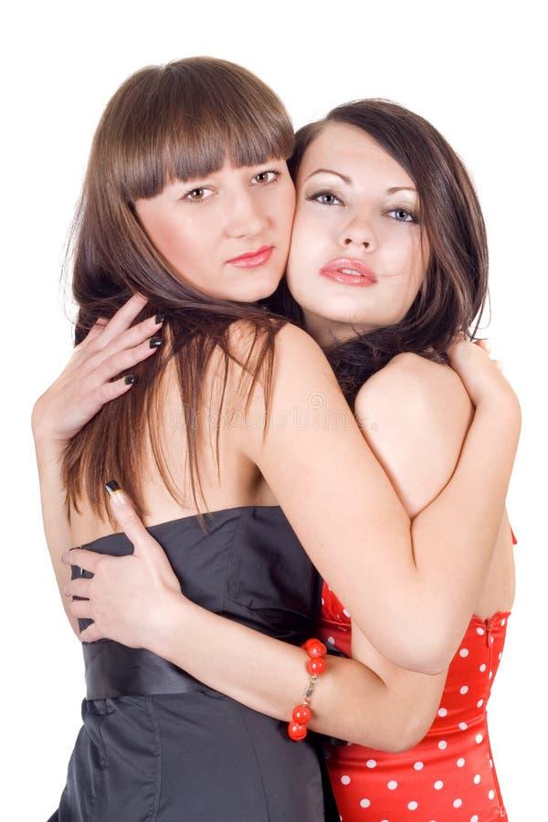piękno obejmuje dwa kobiety młodej zdjęcie stock