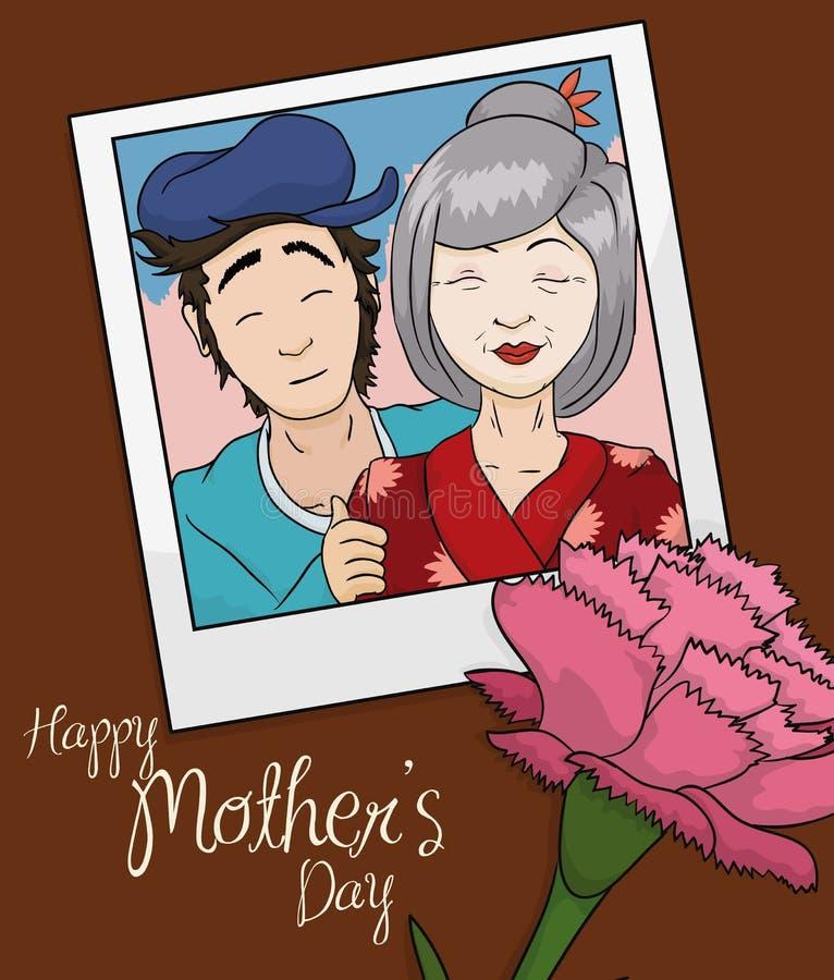 Piękno pamięci fotografia mama i syn w matka dniu, Wektorowa ilustracja ilustracja wektor