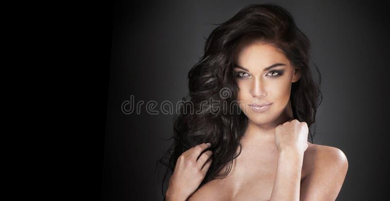 Piękno portret brunetki kobieta zdjęcia royalty free