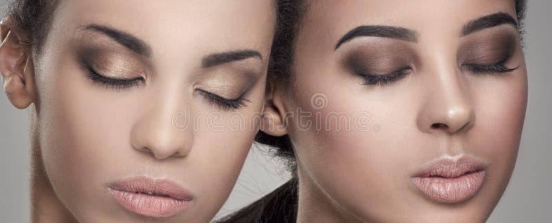 Piękno portret dwa amerykanin afrykańskiego pochodzenia dziewczyny obrazy royalty free