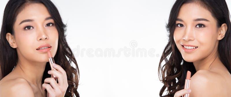 Piękno prezentuje uśmiech różowy złoty szminka produkt fotografia royalty free