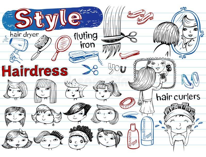 Piękno salon, Doodle set Nowożytny ostry royalty ilustracja