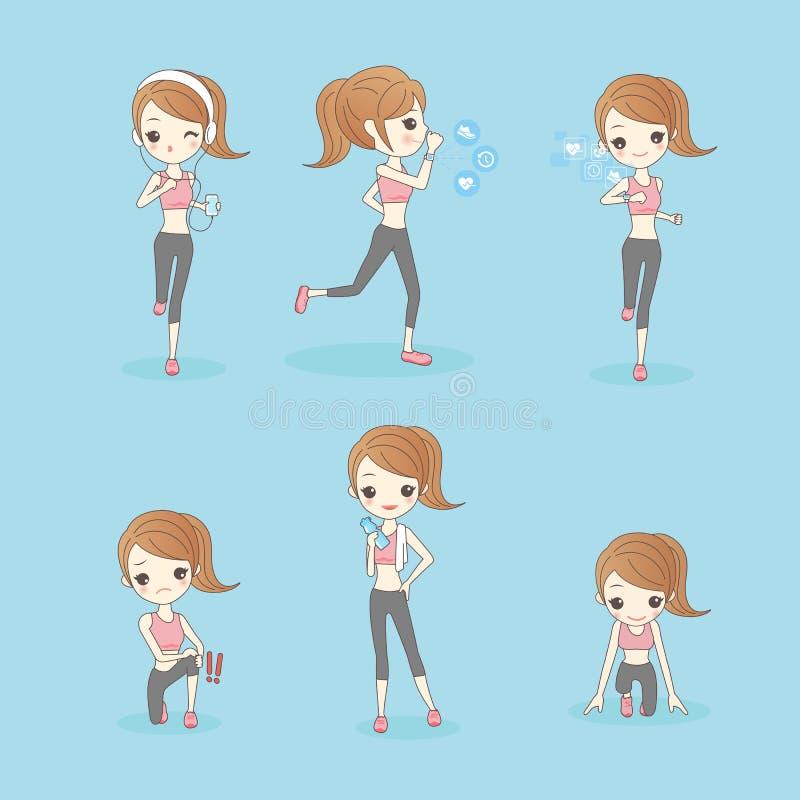 Piękno sporta kobieta biega ilustracja wektor