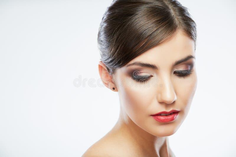 Piękno stylu zakończenie w górę kobiety twarzy portreta  obraz stock