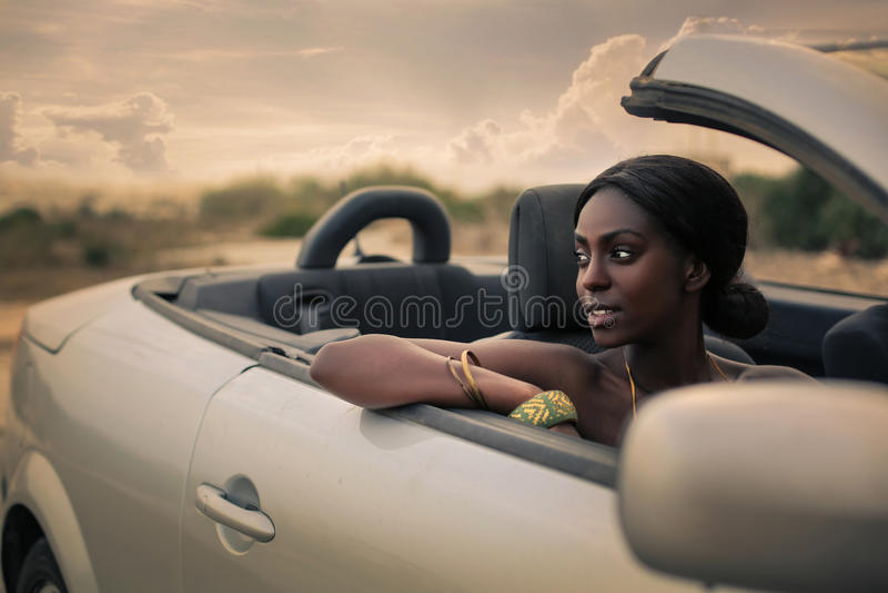 Piękno w cabrio fotografia royalty free