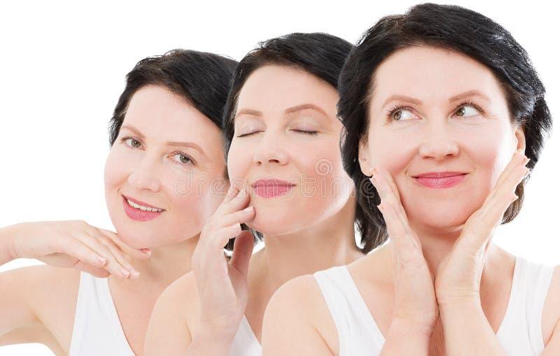 Piękno wieka średniego kobiety kolażu twarzy portret Zdrój i anty starzenia się pojęcie Odizolowywający na białym tle dojrzały po obrazy stock