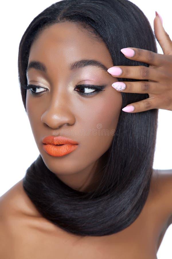 Piękno z gwoździami włosy i gwoździami zdjęcie royalty free