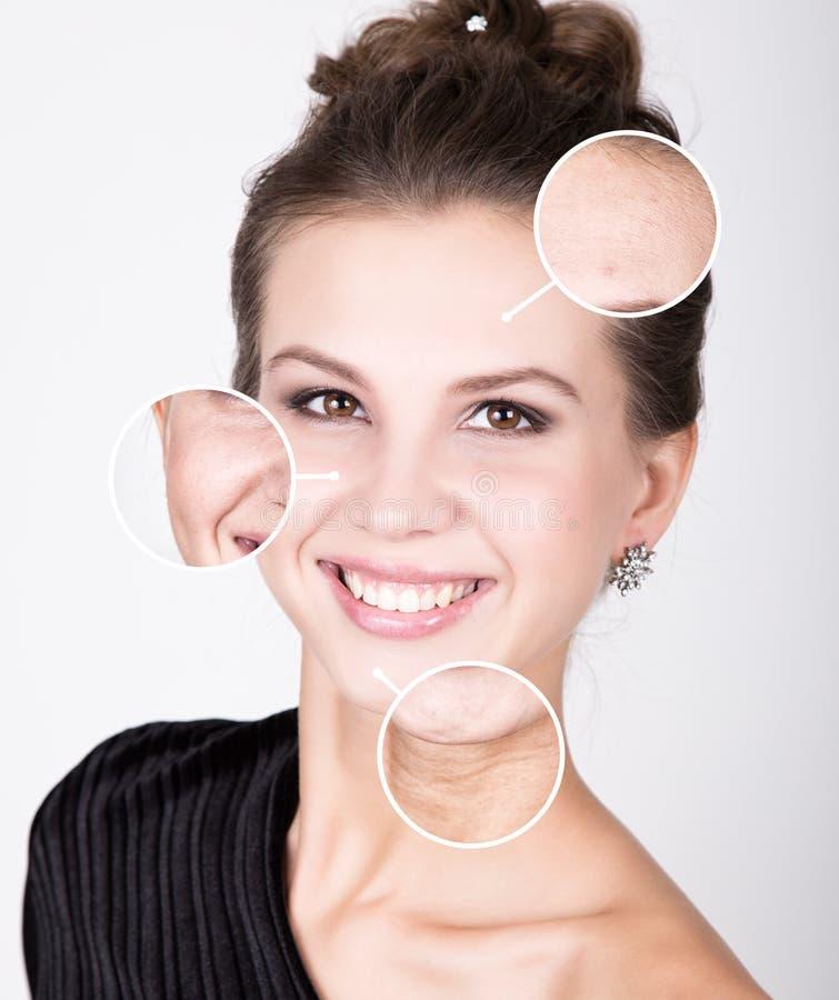 Piękno zdroju kobieta z perfect świeżą skórą Młodości skóry opieki pojęcie Skóra przed i po obieraniem Twarzowy traktowanie obrazy royalty free
