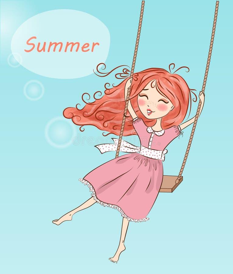 Piękny, ładny, śliczny miedzianowłosy dziewczyny chlanie na huśtawce, ilustracji
