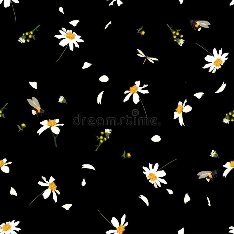 Piękny ładny stokrotka kwiecistego druku dmuchanie w wiatrowym projekcie z mamrocze pszczoła bezszwowego wzór w wektorze dla mody ilustracja wektor