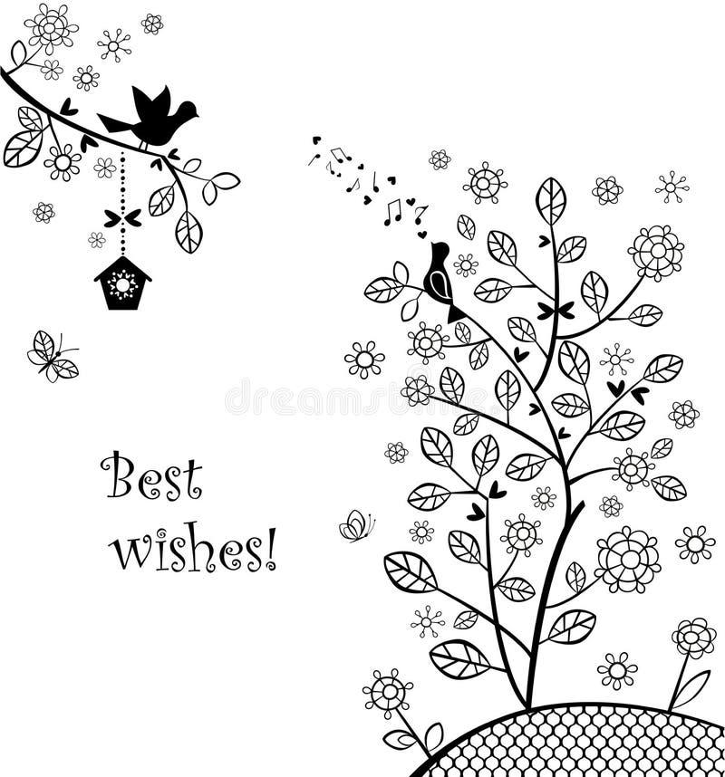 Piękny ślubny powitanie z kwitnąć wiosny drzewa ilustracja wektor