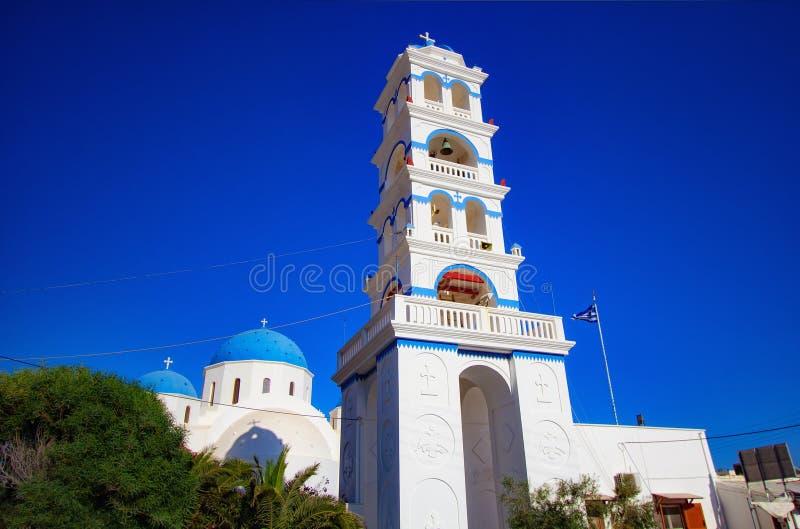 Piękny święty przecinający kościół w Perissa, Santorini Grecja obraz royalty free