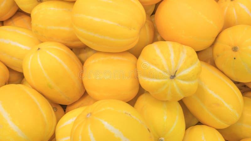 Piękny żółty melon zakłada w hali targowej zdjęcie royalty free