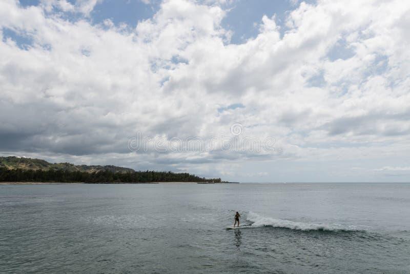 Piękny żółw zatoki dukt na Oahu, z żeńskim longboard surfingowem w przedpolu zdjęcie royalty free