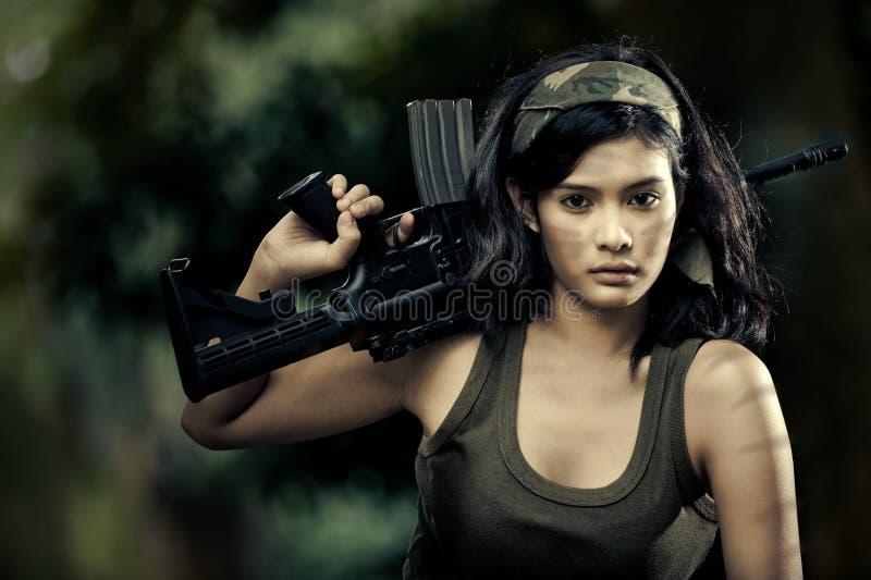 piękny żeński żołnierz obraz stock