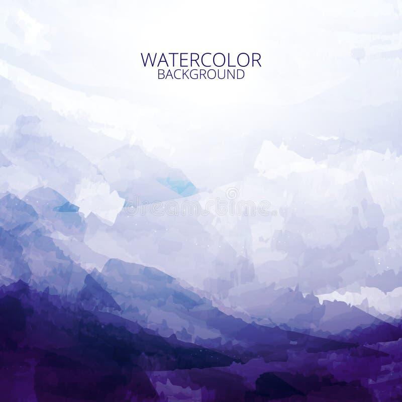 Piękny abstrakcjonistyczny błękitny brzmienie akwareli tło ilustracja wektor