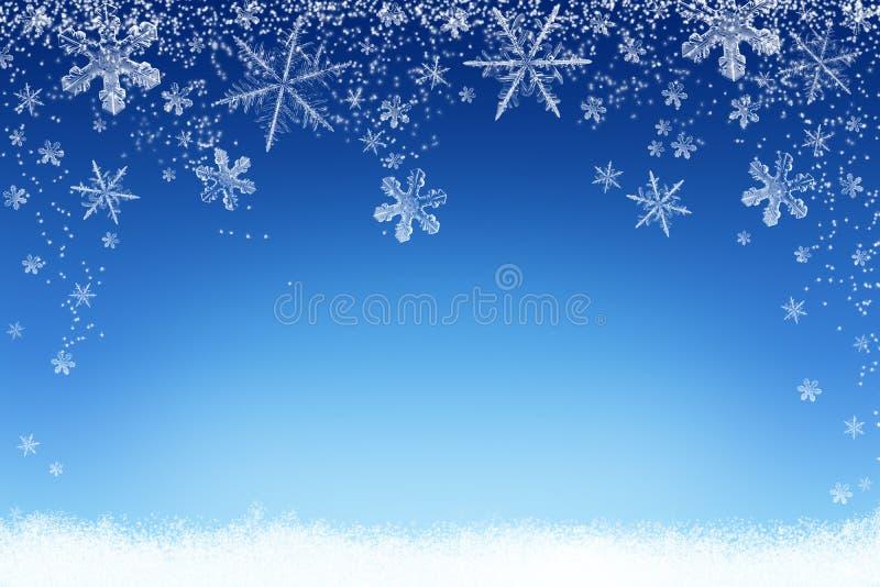 Piękny abstrakcjonistyczny Bożenarodzeniowy zima śniegu krajobrazu tło z płatkami śniegu ilustracja wektor