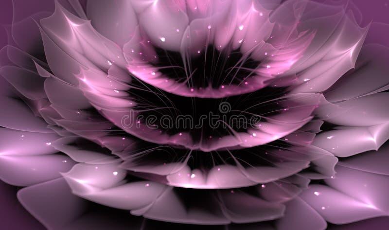 Piękny abstrakcjonistyczny fractal kwiat z błyszczącymi szczegółami na płatkach ilustracja wektor