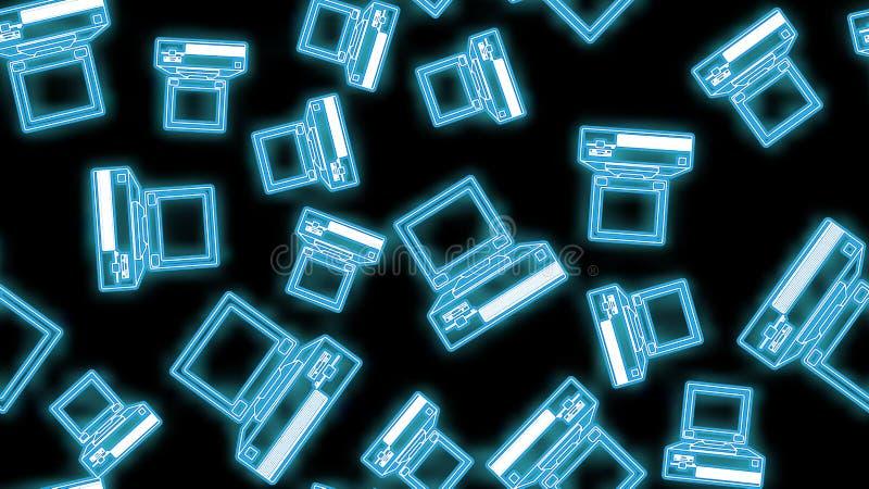 Piękny abstrakcjonistyczny neonowy bezszwowy wzór jaskrawe świecące ikony starego rocznika retro modnisia komputerowi desktops z  ilustracji