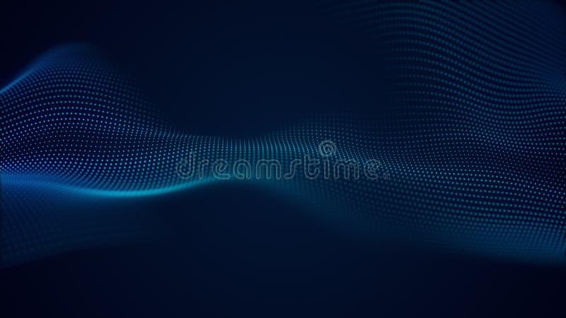 Piękny abstrakt fali technologii tło z błękita światła cyfrowym korporacyjnym pojęciem ilustracja wektor