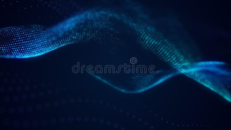 Piękny abstrakt fali technologii tło z błękita światła cyfrowym korporacyjnym pojęciem ilustracji