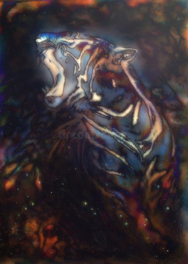 Piękny airbrush obraz huczenie tygrys na abstrakcie c ilustracja wektor