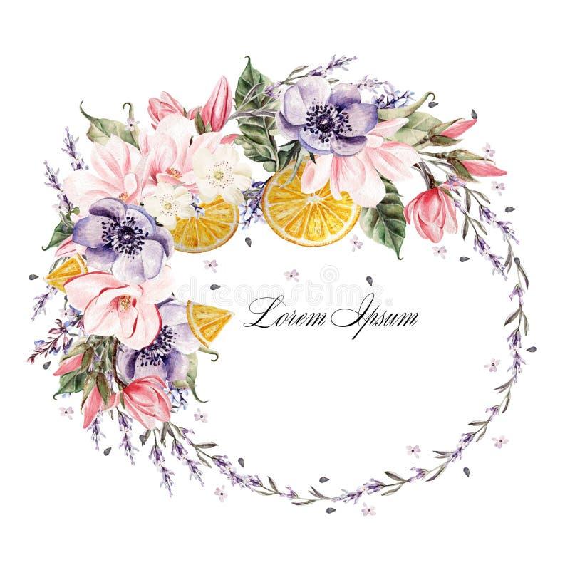 Piękny akwarela wianek z lawendowymi kwiatów, anemonu, magnolii i pomarańcze owoc, royalty ilustracja