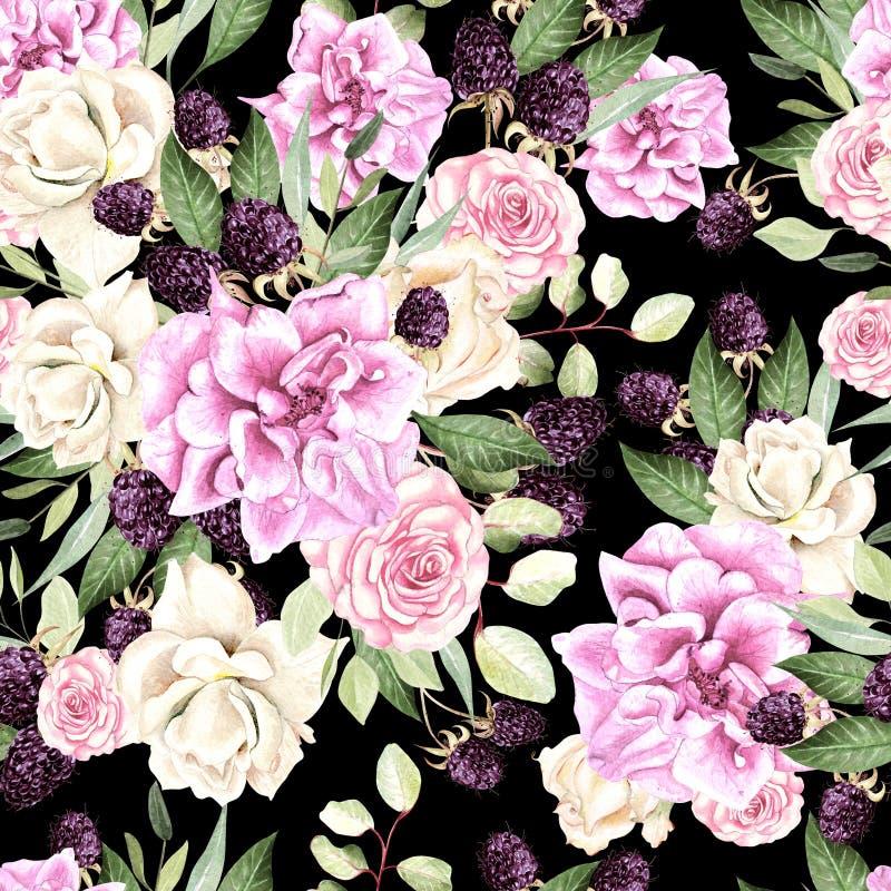 Piękny akwarela wzór z kwiatami wzrastał i czernica ilustracji