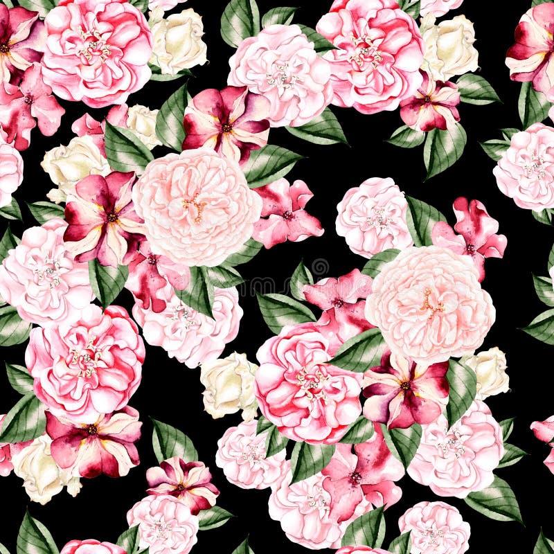 Piękny akwarela wzór z kwiatami wzrastał, peoni i petuni kwiaty, zdjęcie stock