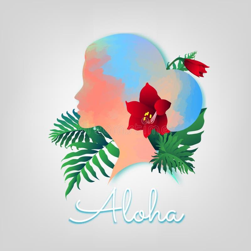 Piękny akwareli kobiety turysta z kwiatem w jej włosy i ilustracji