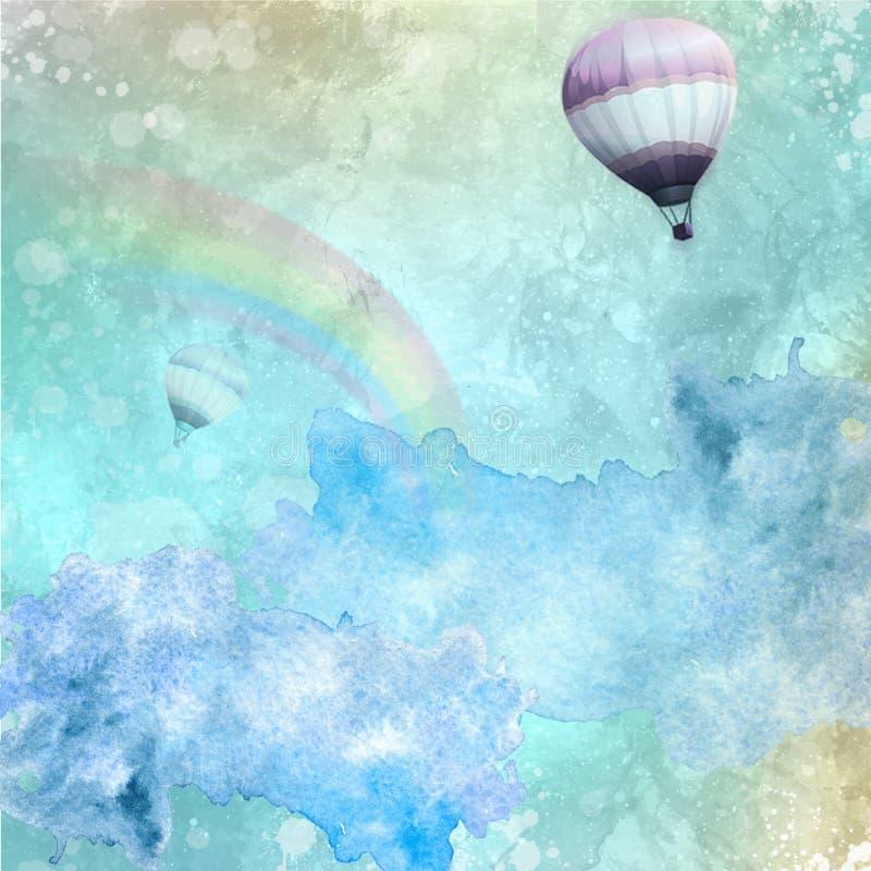 Piękny akwareli tło z Splatters, tęczą, jasnym niebem i latań gorącymi ballons, ilustracji
