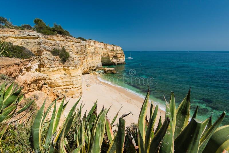 Piękny Algarve wybrzeże z cristal jasną wodą, Portugalia obrazy stock