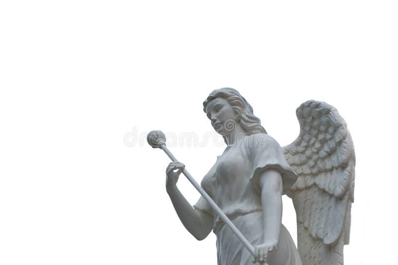 Piękny anioł rzeźby park odizolowywający na białym bac publicznie obrazy stock
