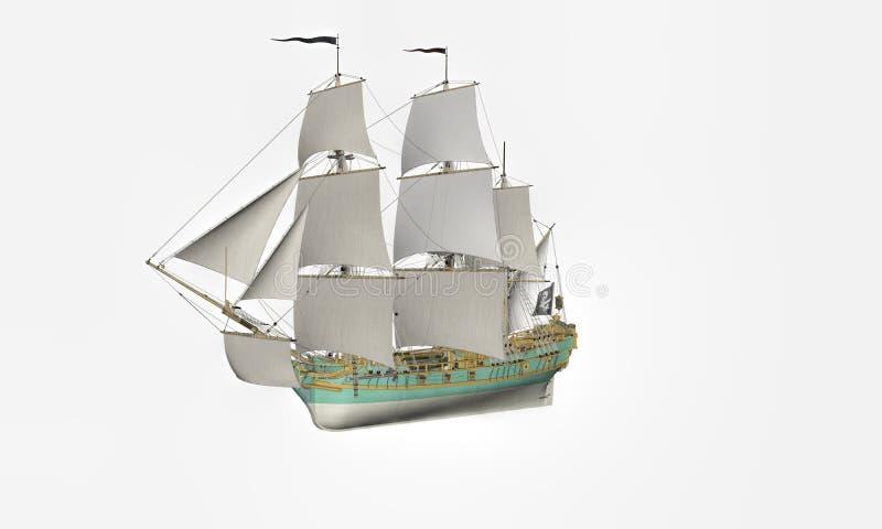 Piękny antykwarski pirata statek w bielu royalty ilustracja