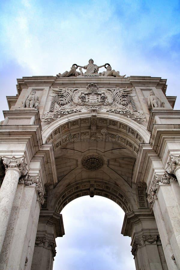Piękny Arco da Rua Augusta w Pracie robi Comercio w Lisbon obrazy stock