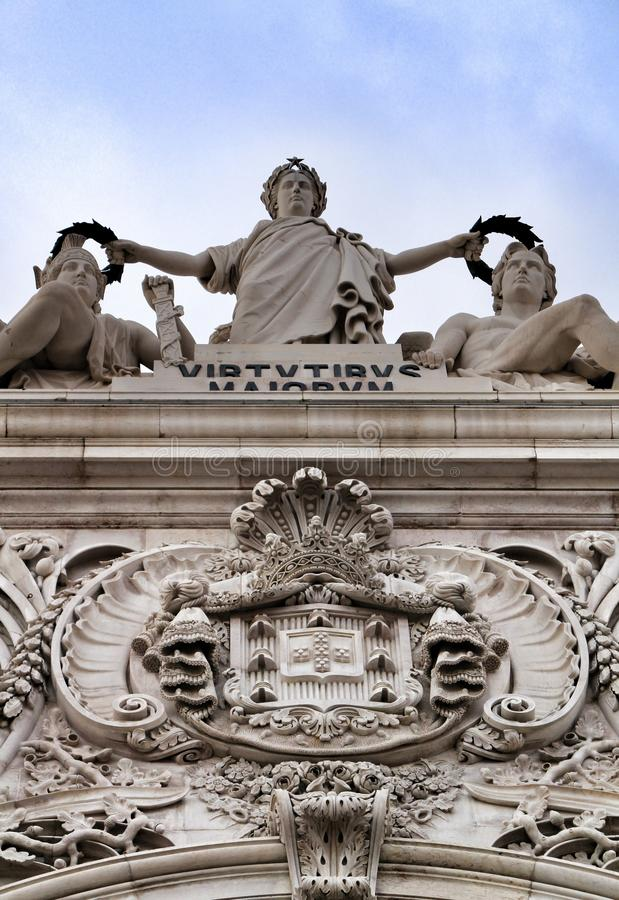 Piękny Arco da Rua Augusta w Pracie robi Comercio w Lisbon obrazy royalty free
