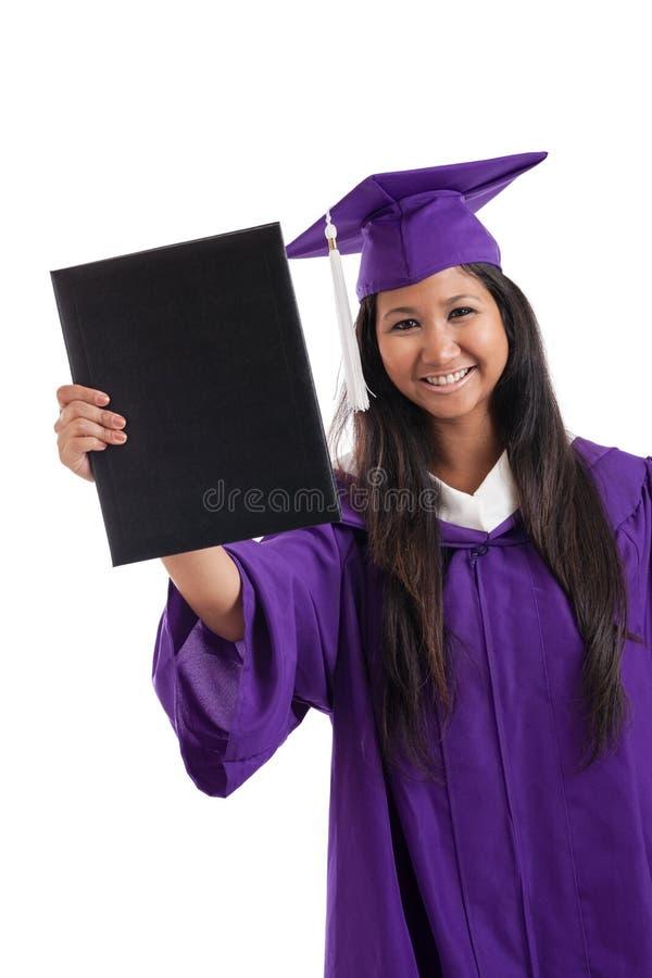 Piękny Azjatycki żeński szkoła wyższa absolwent odizolowywający na bielu zdjęcie royalty free