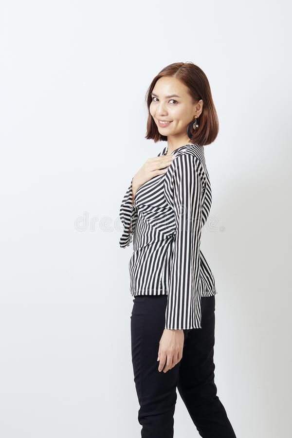 Piękny Azjatycki biznesowej kobiety studia strzał fotografia stock