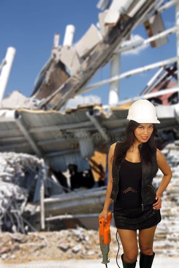Piękny Azjatycki Żeński pracownik budowlany (3a) obrazy stock