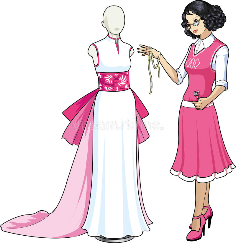 Piękny azjatykci żeński fachowy projektant kostiumów ilustracja wektor
