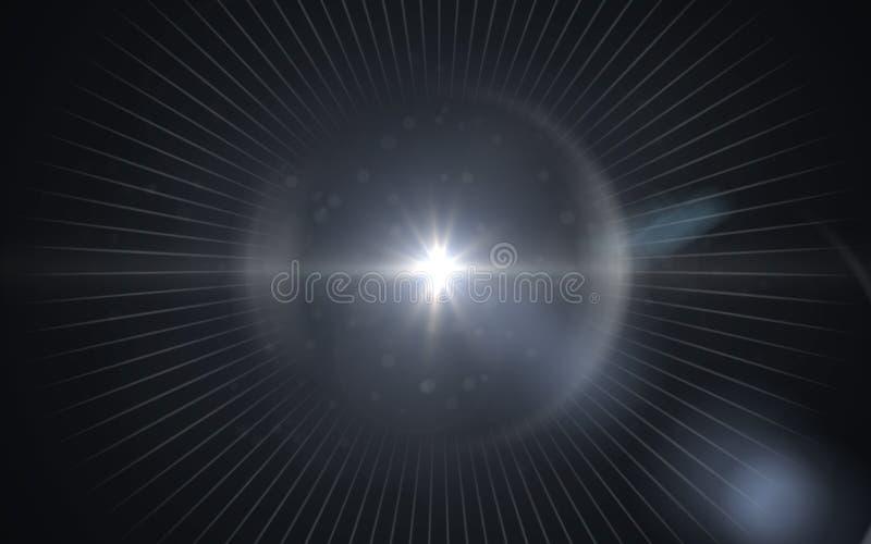 Piękny błękitny cyfrowy obiektywu raca w czarnym tle ilustracji