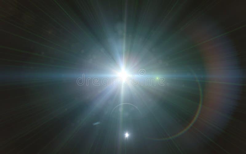 Piękny błękitny cyfrowy obiektywu raca w czarnym tle horyzontalnym ilustracja wektor