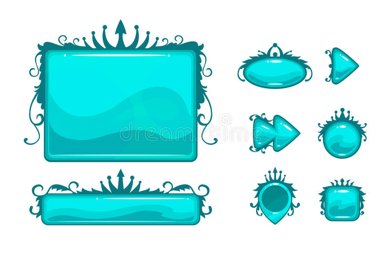 Piękny błękitny gemowy interfejs użytkownika ilustracji